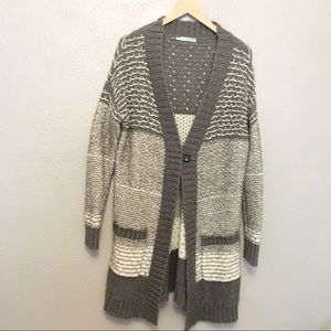 Maurices Knit Duster Cardigan Gray White Medium